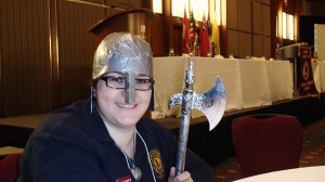 "The theme of the 40th District A-4 Convention was ""Knights of the Blind"" .  Lion Liz Christie was one of 10 Lions selected for best costume demonstrating the value of imagination and lots of duct tape!!"