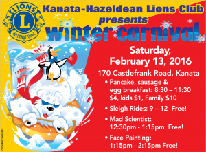 Pancake breakfast 8:30 - 11am Sleigh Rides 9am - 12pm Mad Scientist 12:30 - 1:15pm Face painting 1:15 -2:15pm