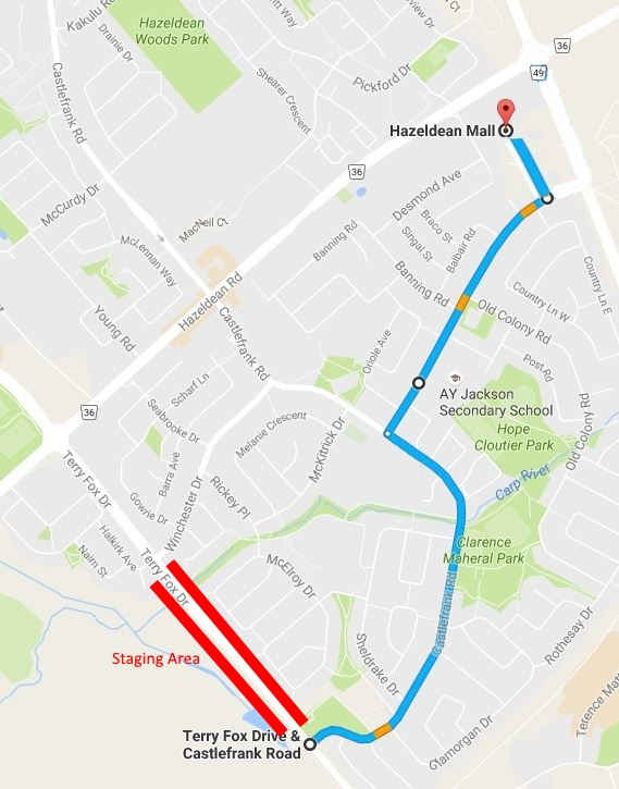 Parade Route along Castlefrank Rd from Terry Fox to the Hazeldean Mall.
